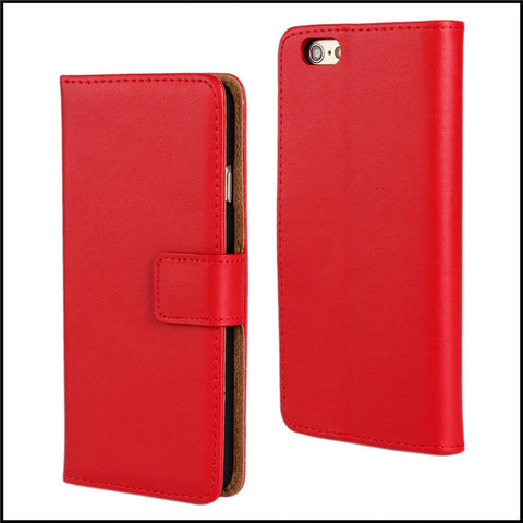 red 6 Plus Leather Wallet Case