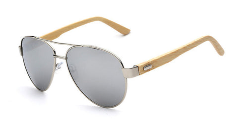 Aviator Sunglasses With Bamboo Arms