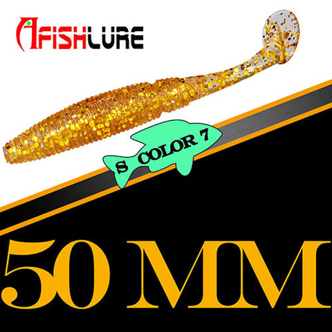 15pcs/lot Afishlure Paddle Tail soft lure 50mm 1g T Tail Fishy Smell Worms Lure Fishing Bass Sea fishing Bait Plastic Maggot