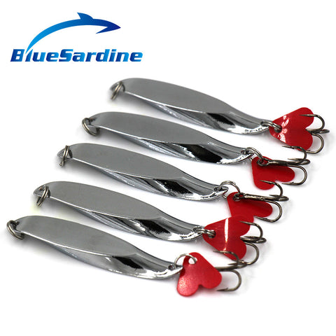 BlueSardine 10Pcs Spoon Lures Metal Fishing Lures Hard Bait Fresh Water Bass Wal