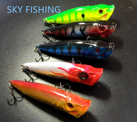 Hot Sale 5PCS 10CM 12G Popper Fishing Lures Hard Bait Top Water Fishing Tackle P