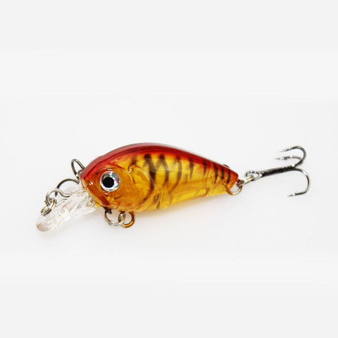 1PCS 4.5CM/4G Laser Hard Crank Fishing Lure Crankbait Treble Hooks 3D Eyes Bait