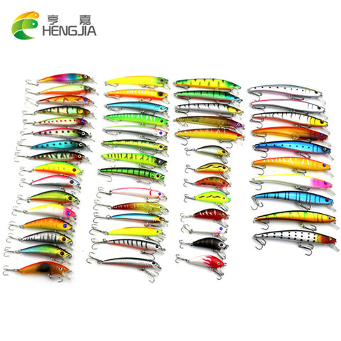 Hot 2016 53pcs/lot pesca fishing lure Mixed 7 models fishing tackle Minnow lure Crankbait Popper isca aitificial fishing wobbler