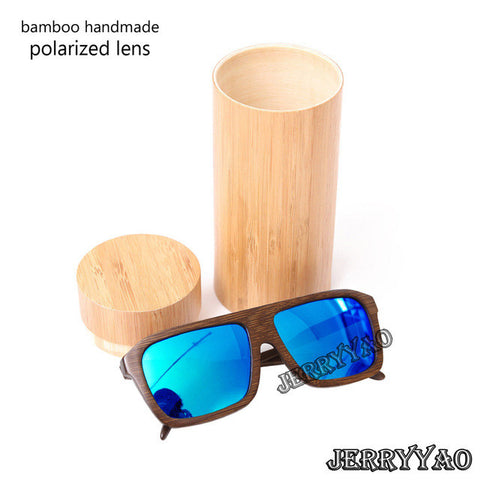 BerWer Polarised Squar Frame Wooden Sunglasses