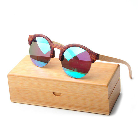 LONSY Bamboo Vintage Half Frame Sunglasses