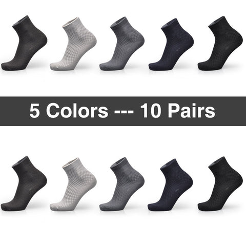 Brand Guarantee Men Bamboo Socks 10 Pairs Breathable Anti-Bacterial Deodorant Hi