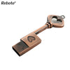Image of Heart Key USB Flash Drive 64GB Mini USB Stick 32GB Metal Pure Copper Heart Key P
