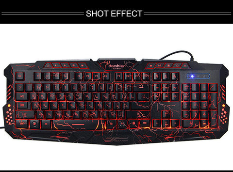 Darshin LED Backlit Russian Keyboard Gaming + Crack Gaming Mouse 6 Buttons Breat