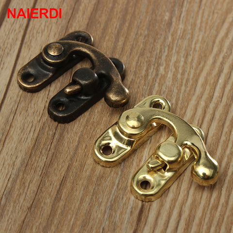 10PCS Small Antique Metal Lock Decorative Hasps Hook Gift Wooden Jewelry Box Pad