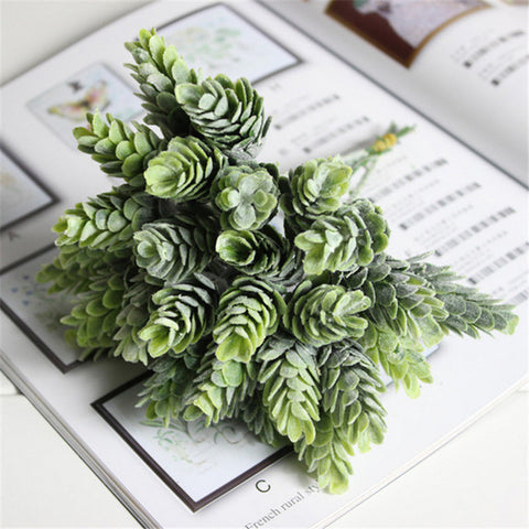 1 Bouquet 6 pcs Home Decor High Simulation Green leaf grass Plant Pineapple Gras