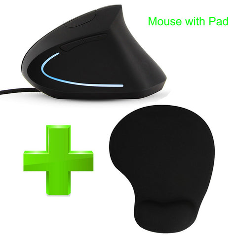 Wired Vertical Mouse Ergonomic LED Backlit Light 3200DPI USB Power by PC Wrist R