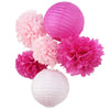 Image of (Pink,Fuchsia)6pcs Honeycomb Paper Decoration Set (Paper Lantern,Pom Pom) for We