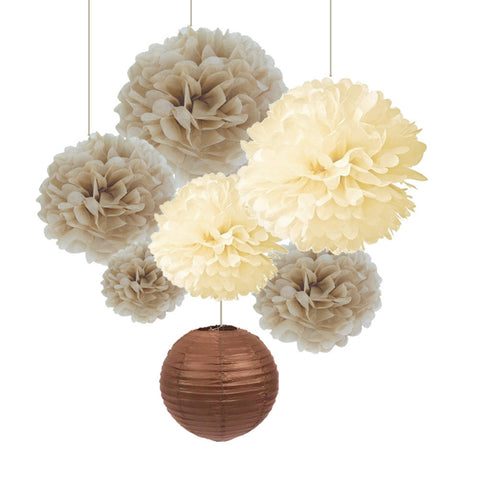 (Tan,Cream) Natural Style 7pc Paper Decoration Set Paper Crafts (Lantern,Pom Pom