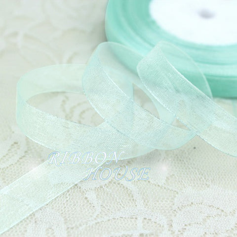 (50 yards/roll)1/2''(12mm) light blue organza ribbons wholesale gift wrapping de