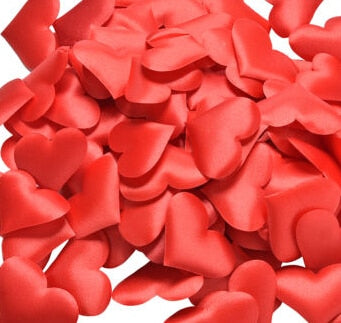 1 Pack DIY Satin Heart Shape Wedding Flower Petals Fabric Artificial Table Throw