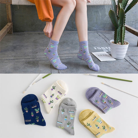 1Pair Fashion Women Plant Cactus Pattern Cacti Socks Plant Ball Cactus Harajuku