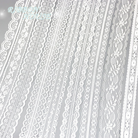 (5 yards/roll) white lace fabric Webbing Decoration packing Material roll wholes