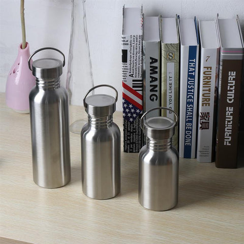 0.35/0.5/0.75New stainless steel water bottle Leak-Proof Seal Sport drinking tra