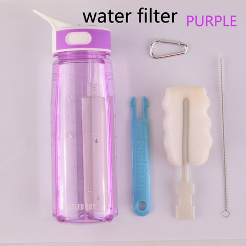 0.7L  water bottle with straw drink water filter bottles kids Handle my gym Plastic bottle