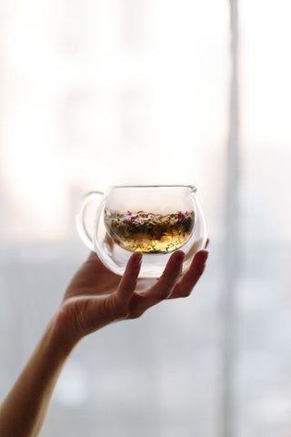 herbal tea in a clear glass cup