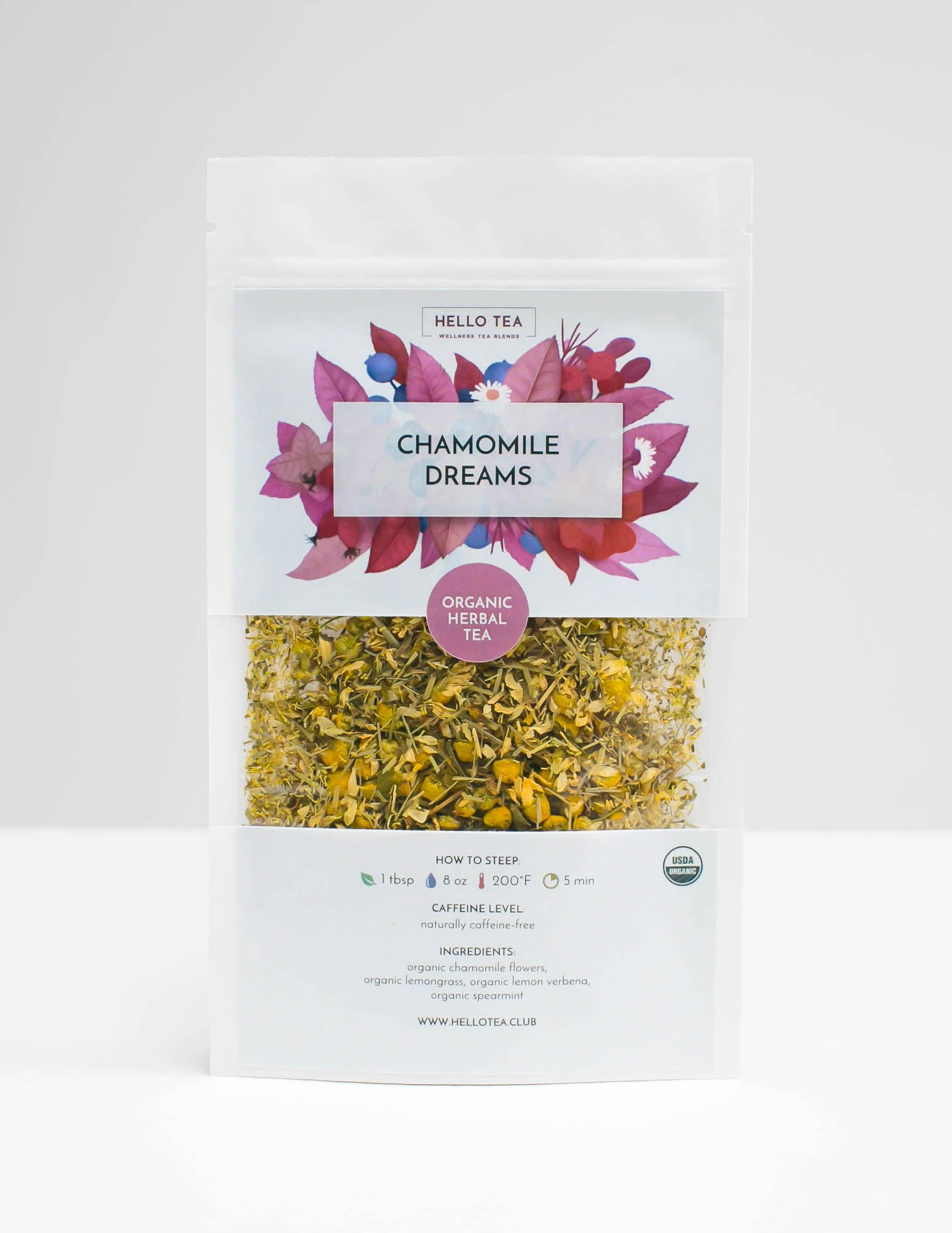 Stand up pouch with Hello Tea Chamomile Dreams Loose Leaf Tea