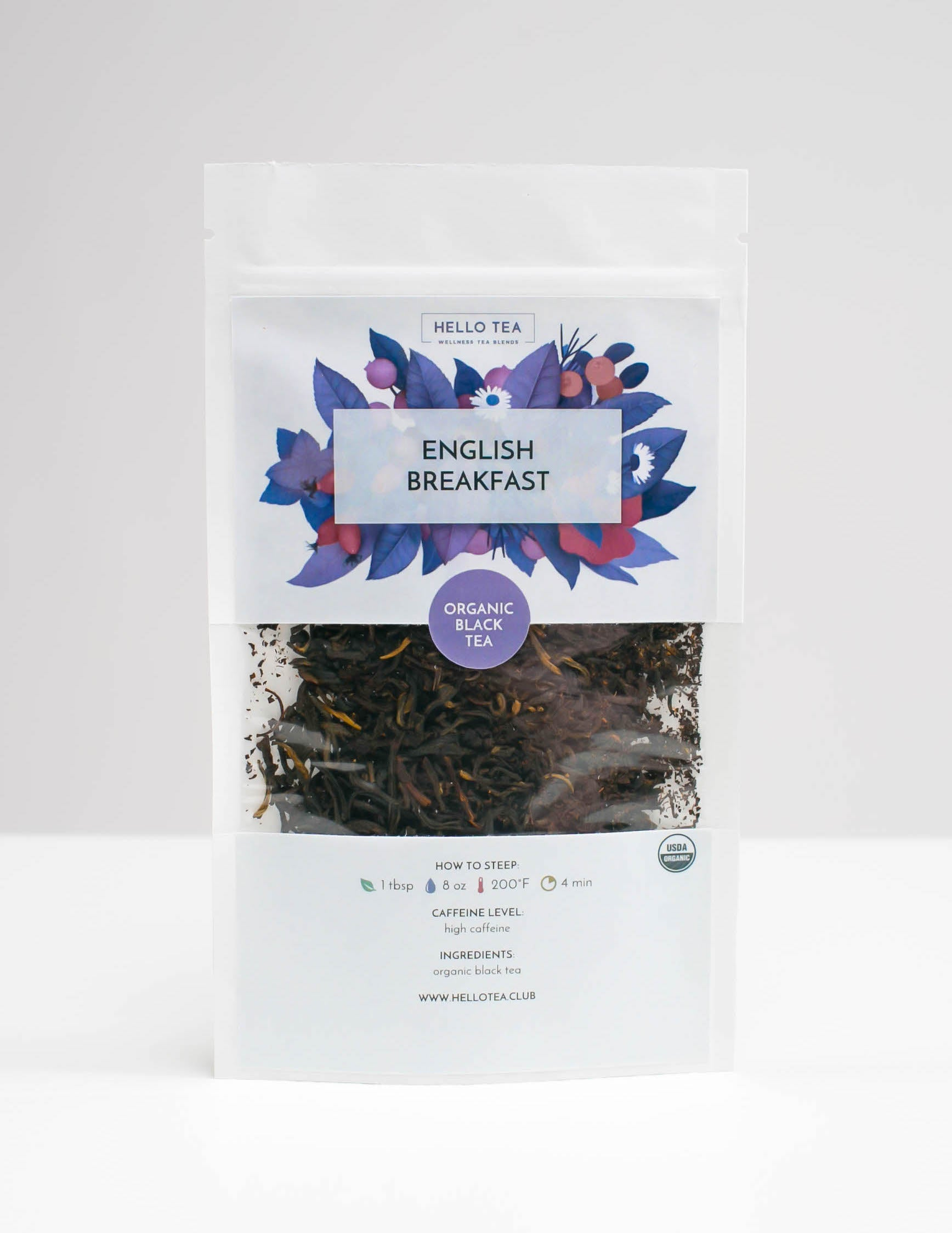 Stand up pouch of Hello Tea English Breakfast Loose Leaf Tea