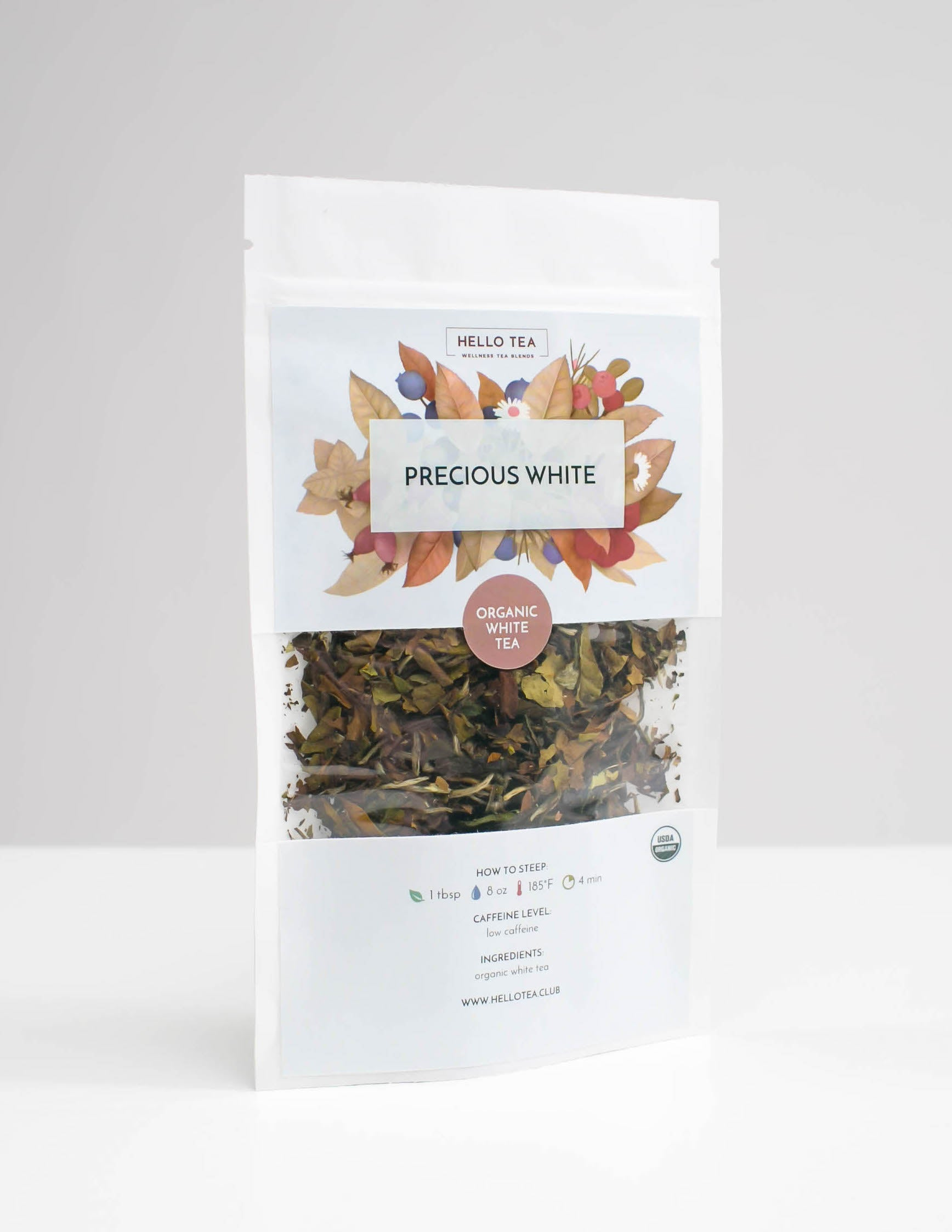 Stand up pouch of Hello Tea Precious White Loose Leaf Tea