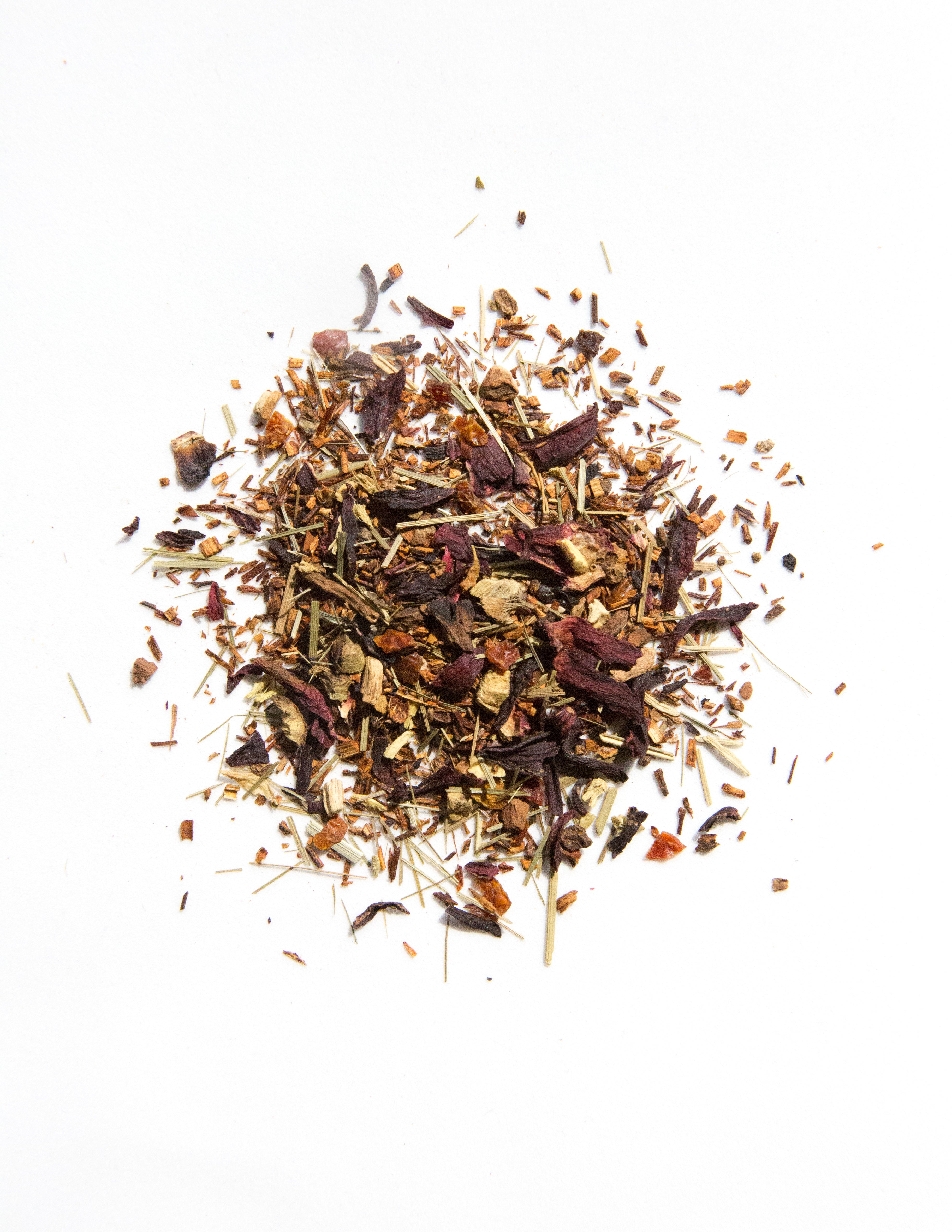 Close-up picture of Hello Tea Rooibos Rosé Loose Leaf Tea