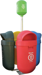 PRS4 QUAD OUTDOOR LITTER BIN (WITH STAND)