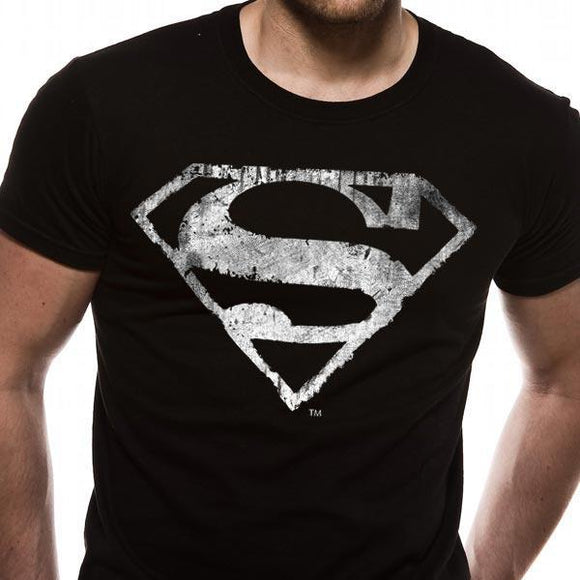 T-Shirt - Superman - Logo Mono Distressed