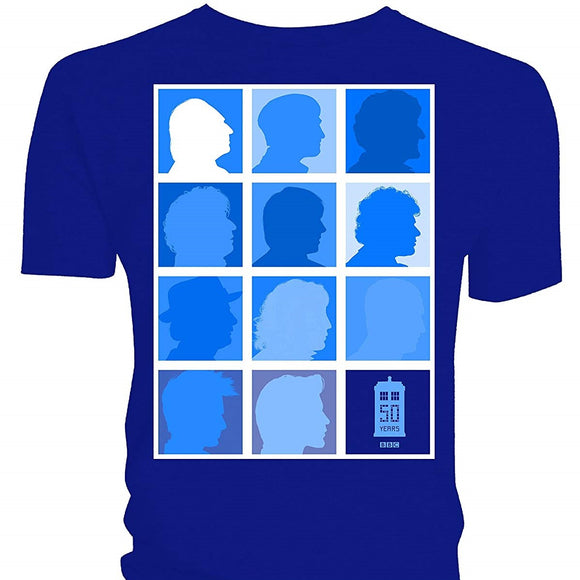 T-Shirt - Doctor Who - Silhouette Grid All Blue