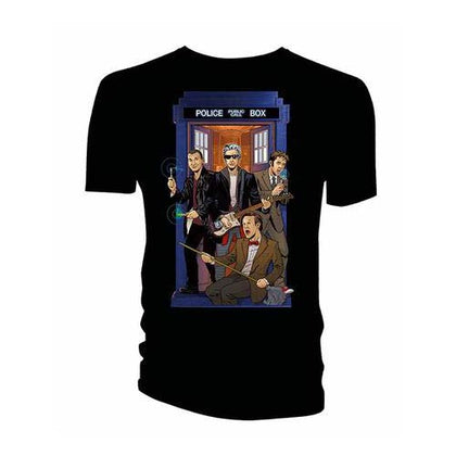 T-Shirt - Doctor Who - 4 Doctors Band