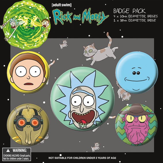 Spille - Rick And Morty - Heads (Badge Pack)