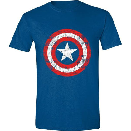 T-Shirt - Captain America - Cracked Shield Navy