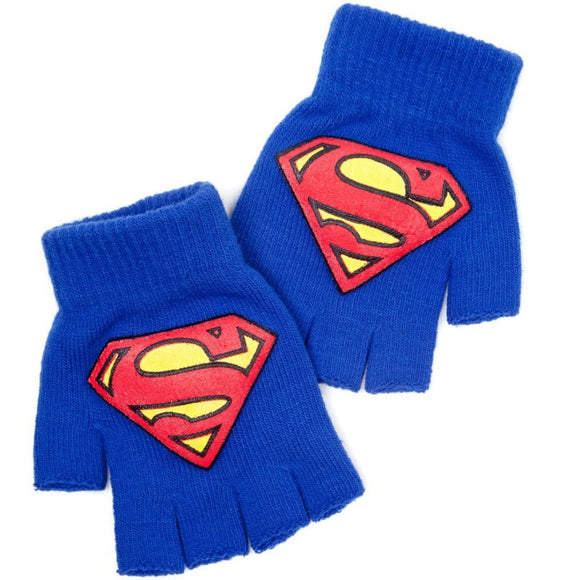 Guanti - Superman - Blue Fingerless Gloves With Logo