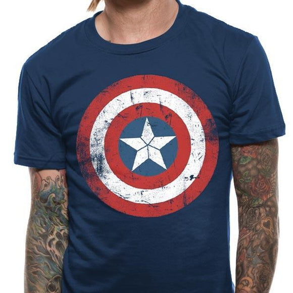 T-Shirt - Captain America - Civil War - Cap Shield Distressed