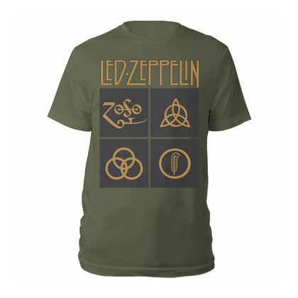 T-Shirt - Led Zeppelin - Gold Symbols & Black Squares