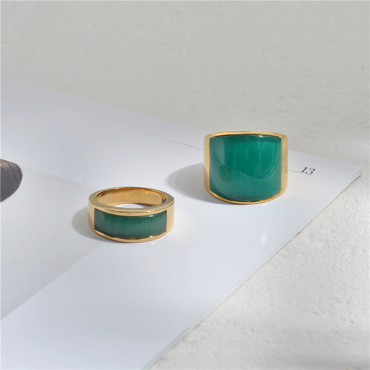 Maeve's Favorite Rings - Wide version of the green ring No. 7 - Wide version green ring No. 8
