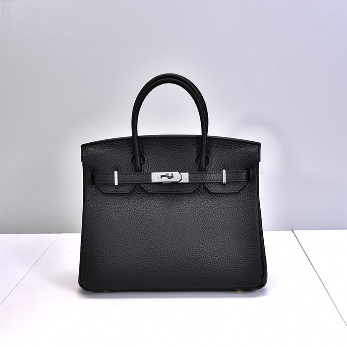 Sac Birkina en Cuir Togo - Finitions argentées - Black 30cm medium silver buckle