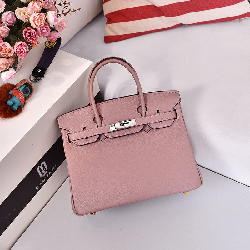Sac Birkina en Cuir Togo - Finitions argentées - Naked pink 30cm medium silver buckle