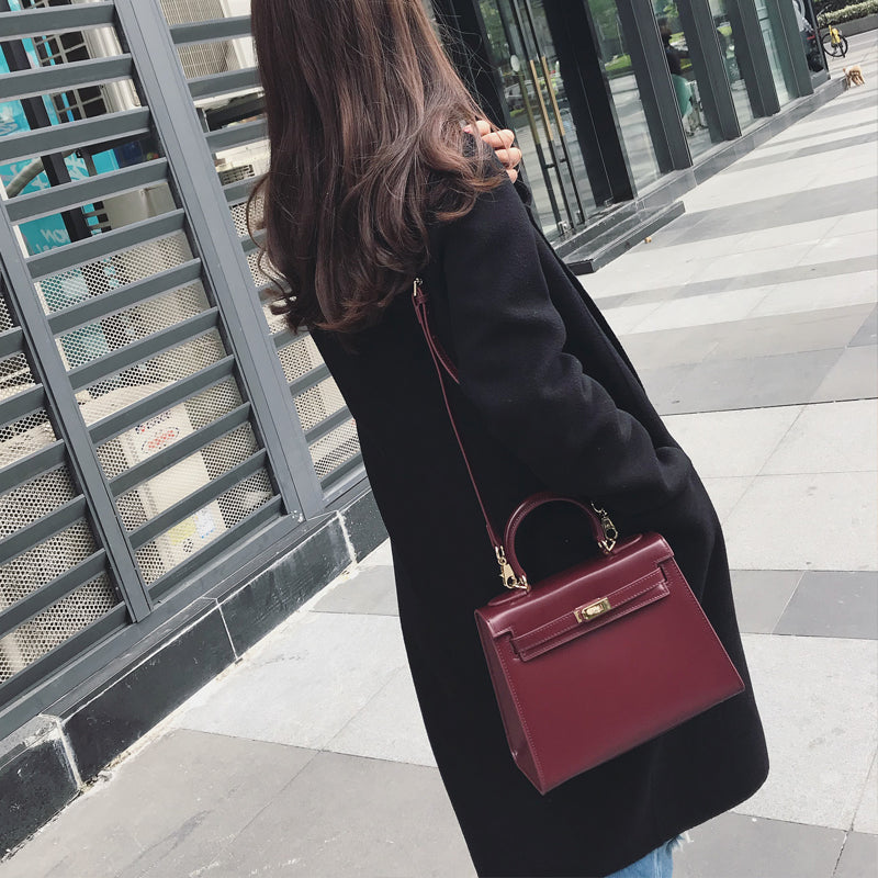 Sac Kelly en Cuir Box - Bordeaux / 25cm - Bordeaux / 28cm