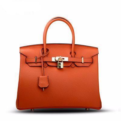 Sac Birkina en Cuir Togo Finitions Dorées - Orange / 30 - Orange / 35