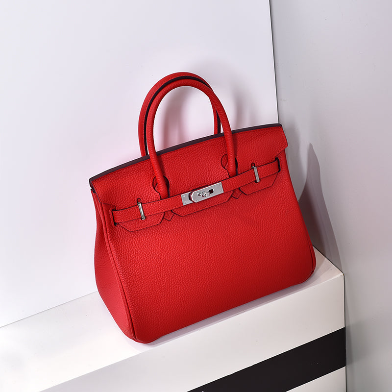 Sac Birkina en Cuir Togo - Finitions argentées - Red 30cm medium silver buckle