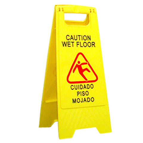 "ABCO Products Yellow Plastic Caution Sign 11x24"" Wet Floor"