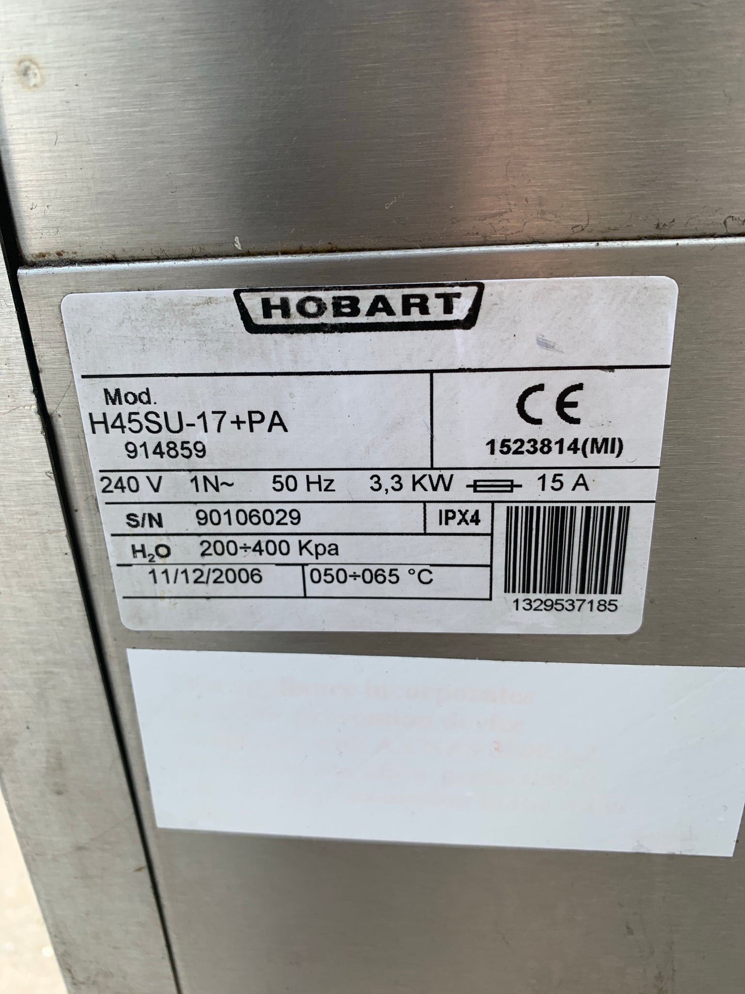APS334 HOBART H45SU SINGLE PHASE PASSTHROUGH COMMERCIAL DISHWASHER WITH WARRANTY - Washpro