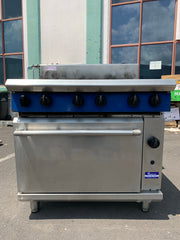APS242 BLUE SEAL NATURAL GAS  COMMERCIAL CONVECTION OVEN AND 6 BURNER WITH WARRANTY IN EXCELLENT CONDITION - Washpro