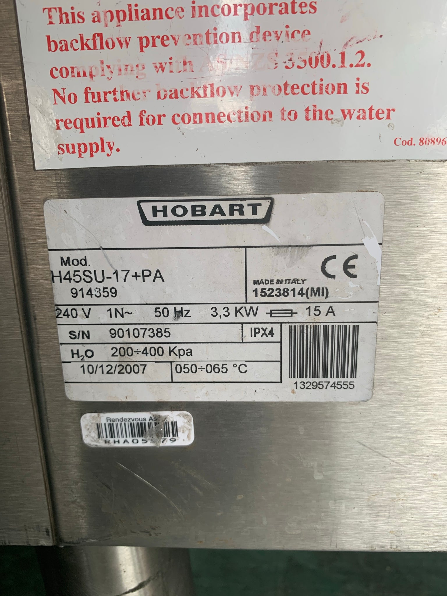 APS088 HOBART H45 SU UNDERCOUNTER COMMWRVIAL DIAHWASHER WITH WARRANTY - Washpro