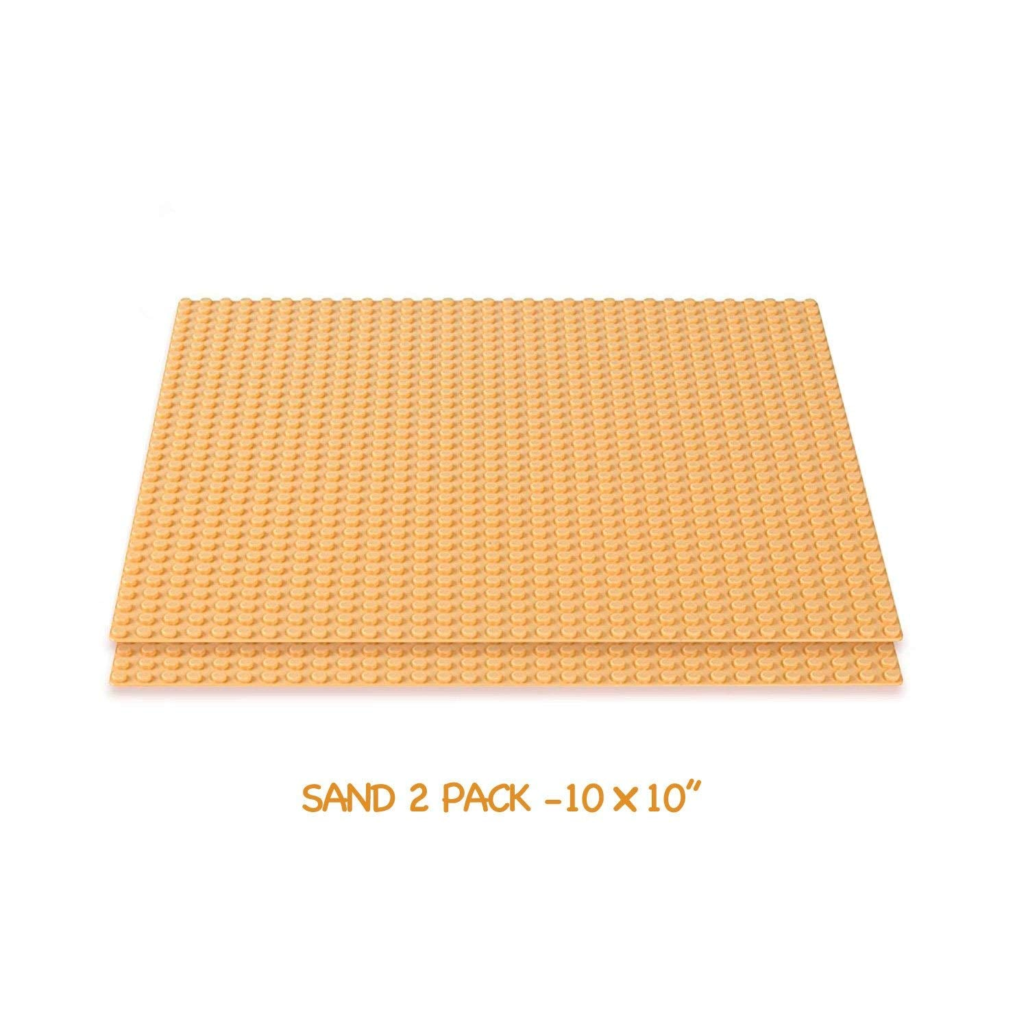 "Brick Building Baseplates (2 pieces of 10"" x 10""), Works with Major Brick Building Sets, Wonderful Plate for Kids (Sand)"