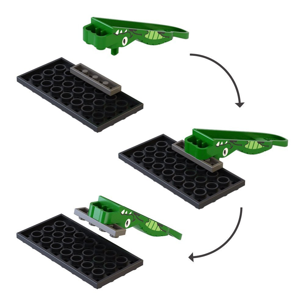 Lego Brick Piece Separator Tool - Cute Green Alligator Accessories (Pack of 2)