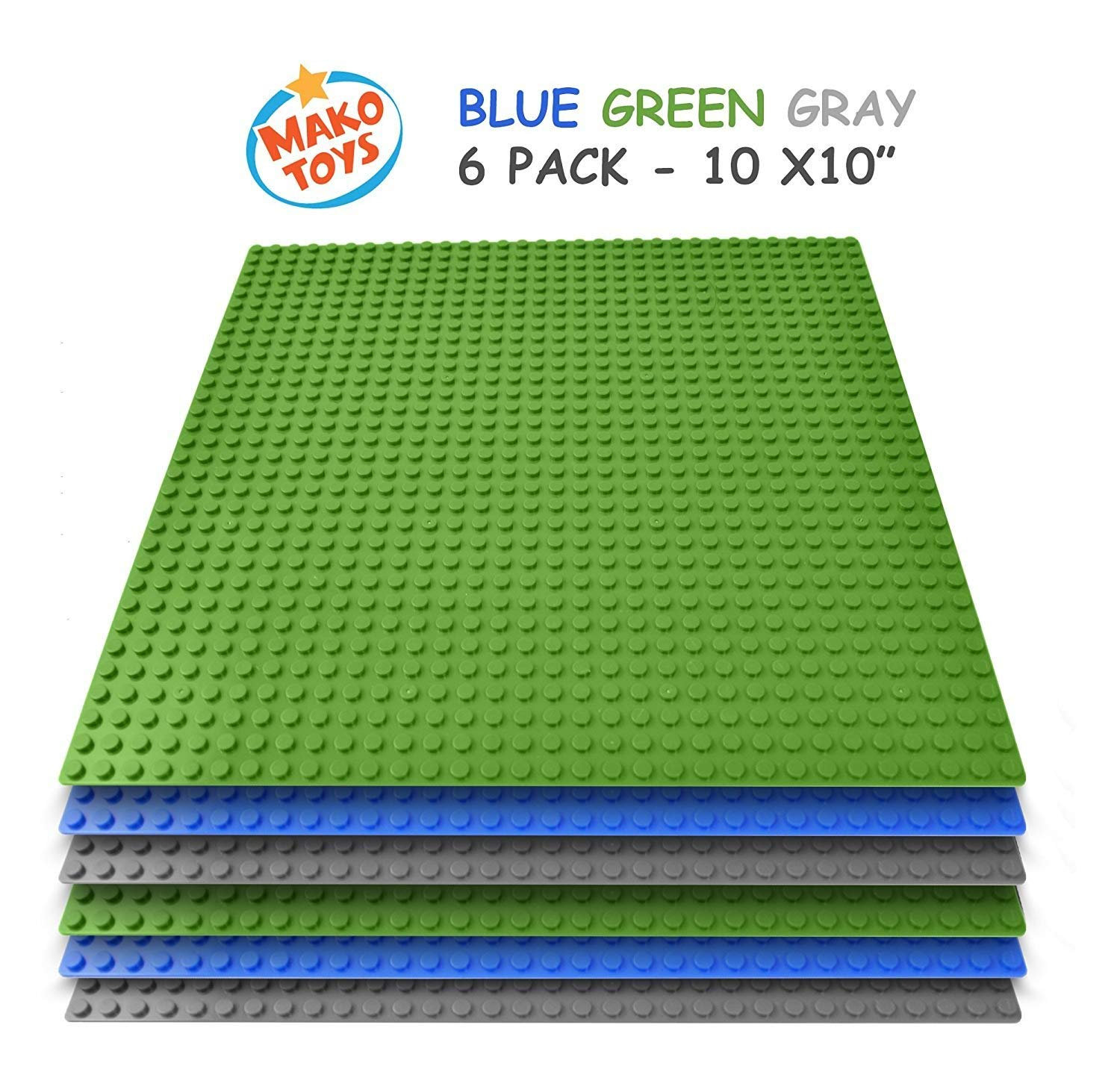 "BreoLife Building Base Plates - Compatible Baseplates (6 pieces of 10"" x 10"") in Blue, Green and Gray, Works with Major Brick Building Sets, Wonderful Plate for Kids (Blue/Green/Gray)"